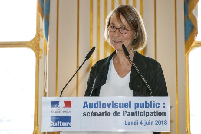 La ministre de la culture, Françoise Nyssen, lors de la présentation de sa réforme de l'audiovisuel public, lundi 4 juin, à Paris.