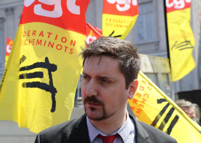 Le secrétaire général de la CGT-Cheminots Laurent Brun, le 3 mai, à Paris.