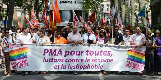 """People hold a banner that reads """"PMA (Procreation medicalement assistee - assisted reproductive technology) for all, Lets fight against sexism and lesbophobia"""" as they take part in the Lyon Gay Pride, on June 15, 2013 in Lyon.   AFP PHOTO/PHILIPPE DESMAZES / AFP PHOTO / PHILIPPE DESMAZES"""