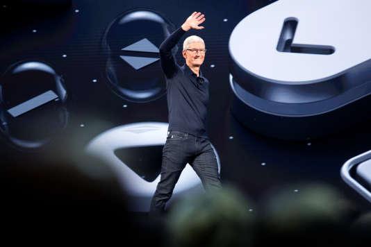 Tim Cook, le patron d'Apple, à San Jose, en Californie, lors de la Conférence annuelle mondiale des développeurs, le 4 juin.