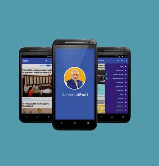 L'application smartphone NaMo, un diminutif pour Narendra Modi, le premier ministre indien, permet de recevoir des messages et des e-mails envoyés par ses équipes.