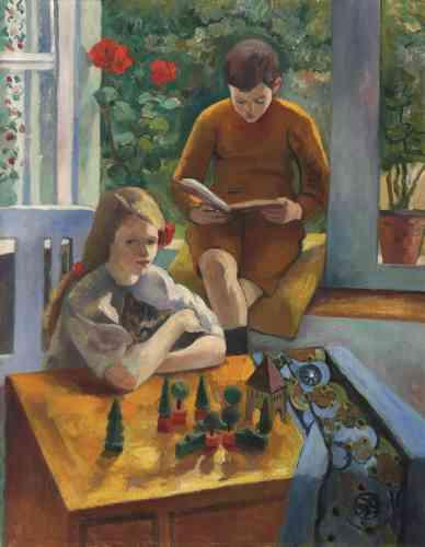 «Les collectionneurs Arthur et Hedy Hahnloser, véritables ambassadeurs de l'art français en Suisse, commandent le portrait de leurs enfants à Manguin en avril 1910. Après avoir accepté leur proposition, l'artiste se rend chez eux, à la villa Flora à Winterthour, en automne de la même année.»