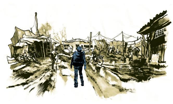 Jungle de Calais, par Cyrille Pomès.