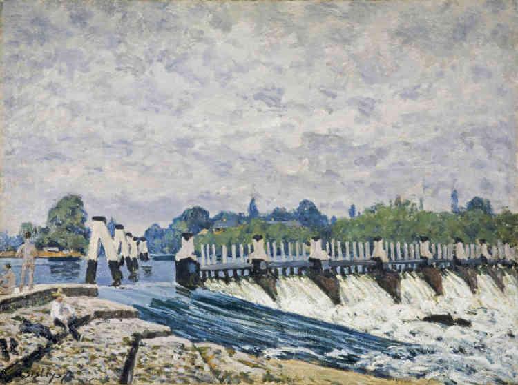 «Durant l'été 1874, Sisley s'installa à l'ouest de Londres, dans un hôtel d'Hampton Court. Le site accessible en chemin de fer était célèbre pour sa résidence royale et pour l'agrément qu'offrait la Tamise. L'artiste préféra au pittoresque château des Tudors des sujets plus modernes, comme cette écluse de Molesey, située à peu de distance. L'œuvre fit partie des six toiles anglaises choisies par son mécène, Jean-Baptiste Faure, auquel Sisley avait réservé la primeur de son travail, en contrepartie de la prise en charge de son séjour.»