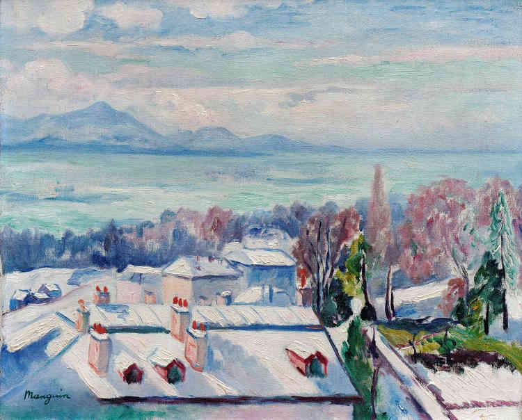 """«Quand la guerre éclate en août 1914, Manguin, qui est réformé, s'installe avec sa famille à Lausanne, en Suisse romande, jusqu'en janvier 1919. La vue le séduit alors immédiatement : """"[Elle] y est admirable, les montagnes, le lac, la ville, les émotions se succèdent sans fin!"""" Manguin traduit ici la lumière hivernale sur le lac Léman où se mêlent bleu turquoise et bleu azur.»"""