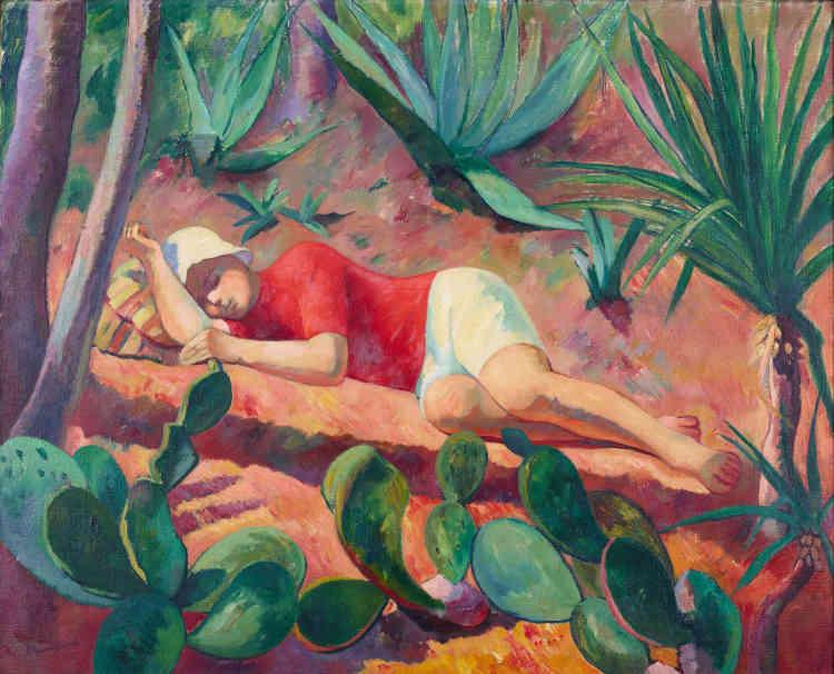 «C'est l'harmonie entre l'homme et la nature qui semble être au cœur de cette œuvre où le fils de l'artiste, Claude, somnole sur la terre ocre de Cassis, au milieu des cactus qui rythment la composition.»