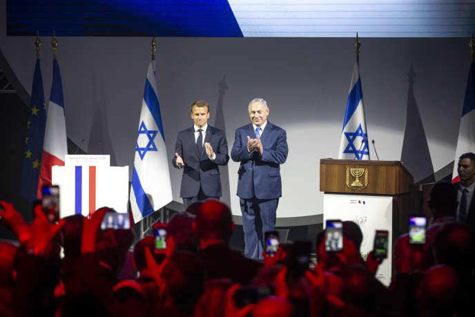 Emmanuel Macron et Benyamin Nétanyahou, mardi 5 juin au Grand Palais, à Paris.