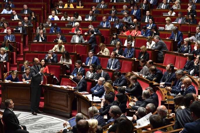 Le premier ministre, Edouard Philippe, répond aux questions au gouvernement, à l'Assemblée nationale, le 22 mai.