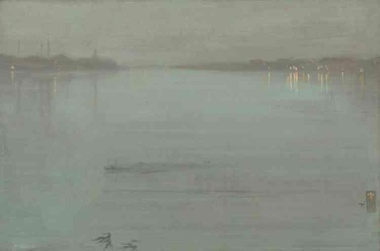 «La Tamise fut un objet de fascination pour l'artiste d'origine américaine, James McNeill Whistler, dès son arrivée à Londres. Le fleuve lui inspire alors une série d'eau-fortes –en peinture, des vues nocturnes donnant à voir la ville d'une manière radicalement nouvelle. L'artiste s'attache aux formes et aux couleurs plus qu'à la vérité topographique des environs de Chelsea, son quartier de prédilection.»