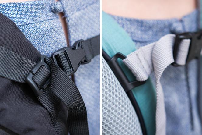 La sangle de poitrine/de dos du Beco Gemini utilise un système de glissières intégrées au tissu (à gauche), qui fonctionne moins facilement que les glissières à goulottes de l'Ergobaby 360 Cool Air Mesh (à droite).