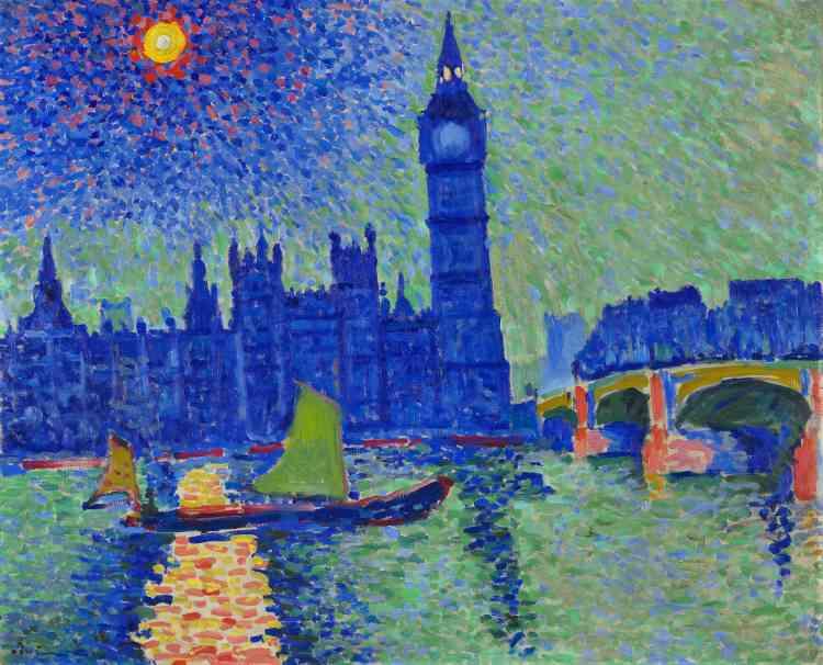 """«Lors du Salon d'automne de 1905, de jeunes peintres """"fauves"""", groupés autour de Matisse, avaient fait scandale. Le marchand d'art Ambroise Vollard, à la recherche de nouveaux talents, y repéra Derain et décida de le prendre sous son aile. Il finança en 1906 son séjour hivernal à Londres, en lui commandant des vues de la ville, en écho à celles de Monet.»"""