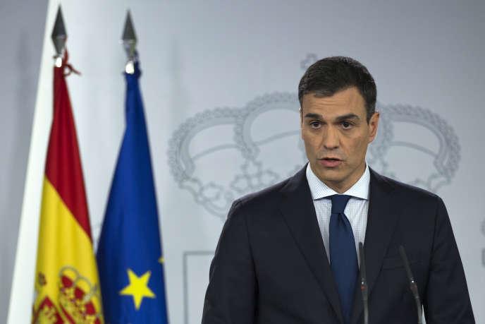 Le nouveau premier ministre espagnol, Pedro Sanchez, lors de l'annonce de la composition de son gouvernement, à Madrid, le 6 juin.
