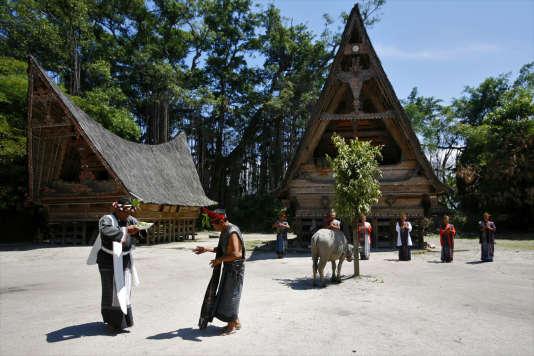 Au nord de Sumatra, danse traditionnelle batak sur l'île de Samosir au centre du lac Toba.
