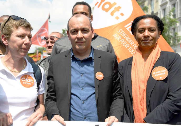 Le secrétaire général de la CFDT, Laurent Berger, à la manifestation contre la politique gouvernementale, à Paris, le 22 mai.