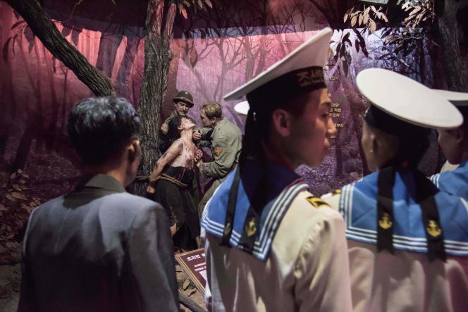 Le Musée des atrocités de guerre américaines, dédié au massacre de Sinchon commis, en 1950, par l'armée des Etats-Unis, près de Pyongyang, en juillet.