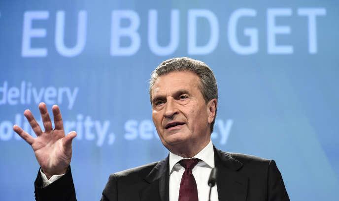 Le commissaire européen au budget, l'Allemand Günther Oettinger, à Bruxelles, le 23 mai.