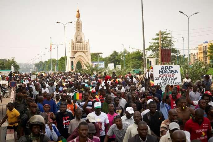 Manifestation le 8juin 2018 à Bamako, à l'appel de l'opposition, pour demander la «transparence» lors de l'élection présidentielle malienne, dont le premier tour est fixé au 29juillet.