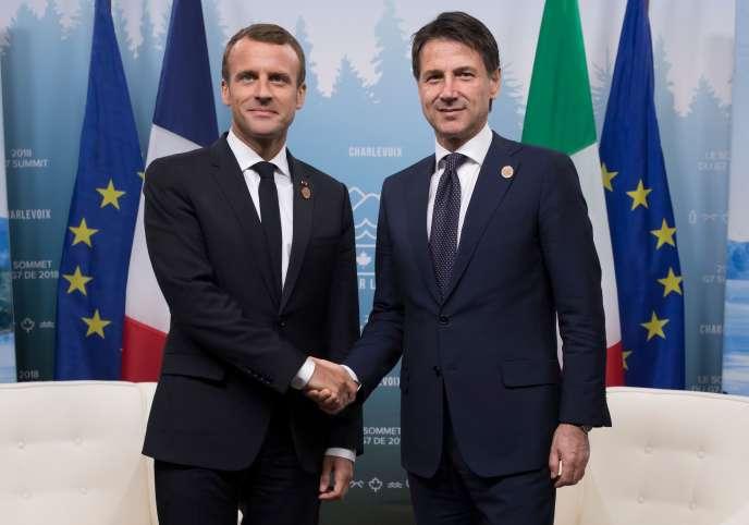 Emmanuel Macron et le chef du gouvernement italien, Giuseppe Conte, le 8 juin, lors du sommet du G7, au Québec.