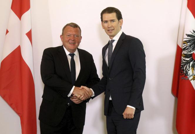Le premier ministre danois, Lars Lokke Rasmussen, et le chancelier autrichien,Sebastian Kurz, lors de leur rencontre à Vienne, le 15 mai.