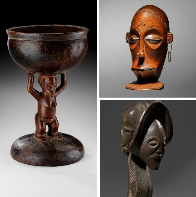 Trois des objets restitués en juin2018 à l'Angolapar l'entremise de la Fondation Sindika Dokolo.