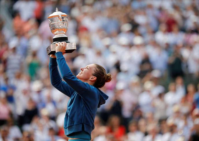 La joie de Simona Halep après sa victoire à Roland-Garros.