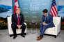 Le premier ministre canadien Justin Trudeau et le président américain Donald Trump à Charlevoix au Québec le 8 juin.
