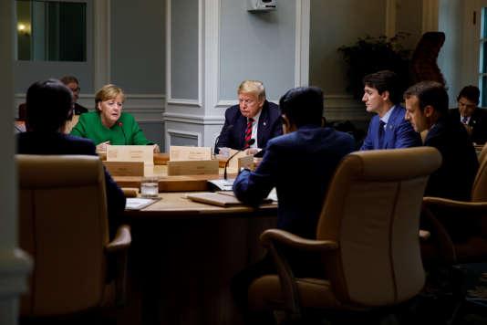 Session de travail entre les chefs d'Etat membres du G7, à La Malbaie (Québec), le 9 juin.