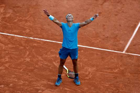 Rafael Nadal après sa victoire contre Dominic Thiem, dimanche 10 juin.