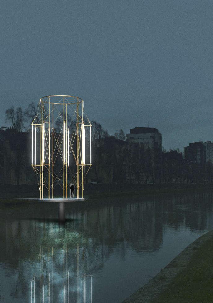 Etude pour le projet «Kiosques» des frères Bouroullec, une installation permanente plantée dans la Vilaine, au printemps 2019.