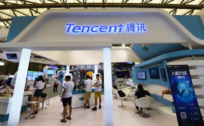 Sur un stand Tencent il y a un an au salon Chinajoy, à Shanghaï, en 2017.