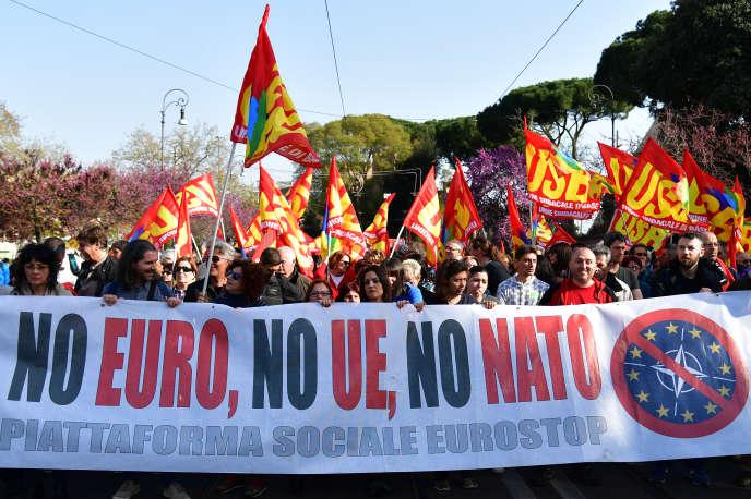 Une manifestation contre l'Union européenne, à Rome, le 25 mars 2017.