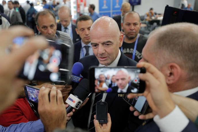 Le président de la FIFA Gianni Infantino, à Kazan, en Russie, le 18 juin 2017.