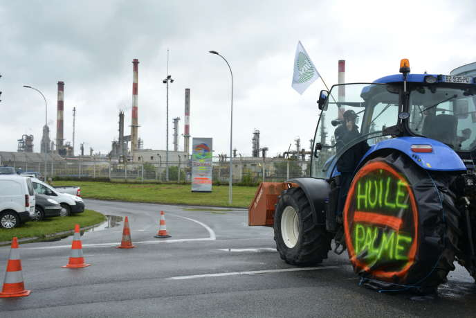 Devant la raffinerie Total de Grandpuits, en Seine-et-Marne, le 11 juin 2018. Le groupe pétrolier prévoit d'importer jusqu'à 500 000tonnes d'huile de palme par an, pour produire différents agrocarburants dans la bioraffinerie de LaMède (Bouches-du-Rhône).Le prix de la tonne de colza, largement utilisé aujourd'hui pour cette production,passerait de 340euros à moins de 300euros.