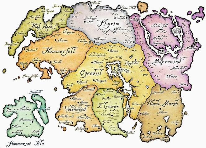 Tamriel, le continent de fiction où se déroule la saga des «Elder Scrolls».