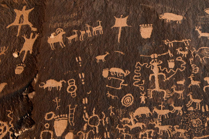 Pétroglyphes à Newspaper Rock, dans le Bears Ears National Monument (Utah), en octobre 2017.