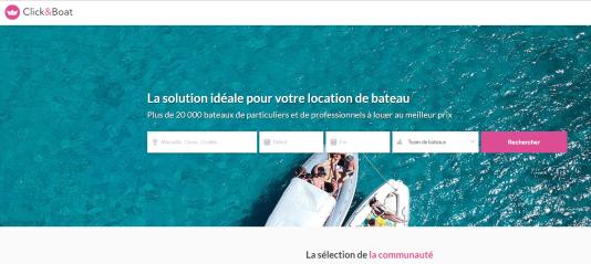 Capture d'écran du site Internet de la société Click & Boat, le 12 juin.