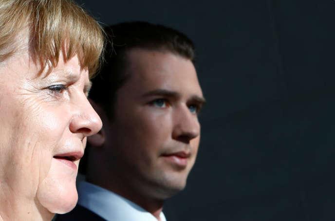 La chancelière allemande Angela Merkel et son homologue autrichien Sebastian Kurz lors d'une conférence de presse à Berlin, le 12 juin.