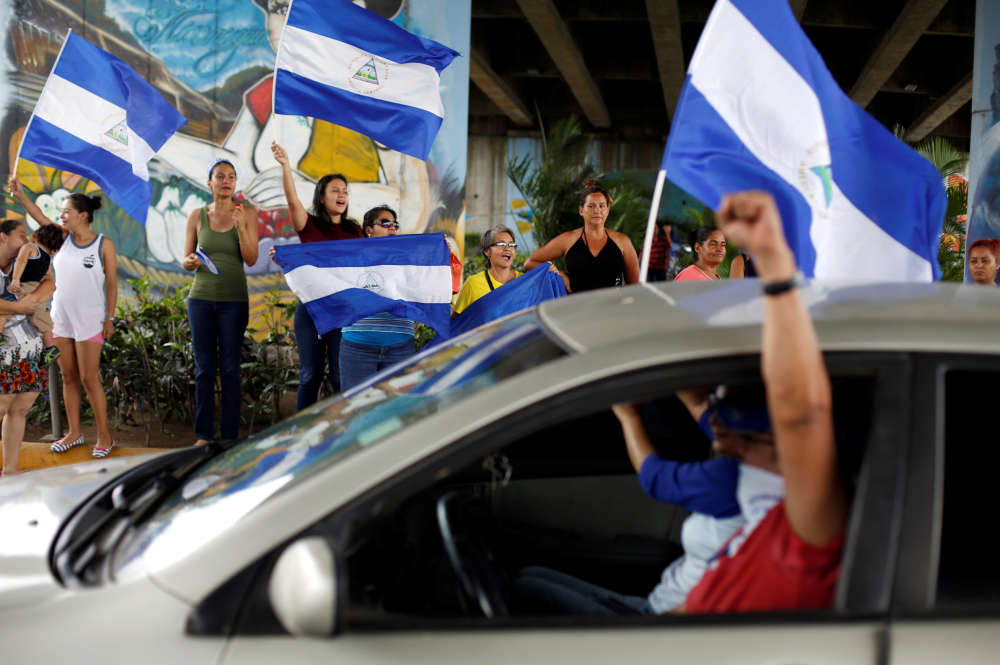 Lors d'une manifestation contre le président du Nicaragua, Daniel Ortega, dans la capitale, Managua, le 10 juin.
