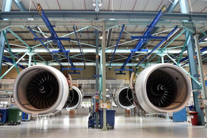 Des moteurs d'avion exposés à l'usine Safran de Colomiers (Haute-Garonne), le 17 mai 2018.