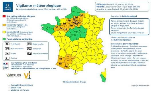 Carte de vigilance de Météo France, le 12 juin à 10 heures.