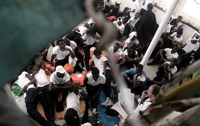 Sur «l'Aquarius» de l'ONG SOS Méditerranée le 12 juin.