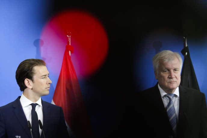 Le chancelier autrichien, Sebastian Kurz, et le ministre allemand de l'intérieur, Horst Seehofer, le 13 juin à Berlin.