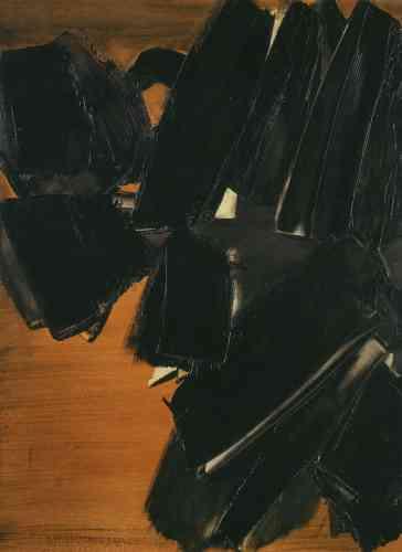 «Cette exposition rétrospective à la Fondation Gianadda pourrait être la première occasion pour le public de découvrirPeinture 81 × 60 cm, 21 mars 1961.Au coursde l'année 1961, l'artiste réalise trente-neuf toiles, toutes suivant le procédé du raclage.Il commence par recouvrir la toile d'une couleur ocre. Ensuite, avec des semelles en caoutchouc ou de larges brosses, il ajoute dans le frais le pigment noir, épais, opaque. Entre ces aplats la lumière s'infiltre pour dévoiler le fond coloré, libéré par l'instrument. Ces jeux de transparences, Soulages les a toujours cherchés, mais c'est véritablement cette technique du raclage qui lui en donne la pleine mesure.»