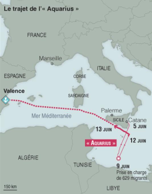 Position de l'« Aquarius » dans la mer Méditerranée, au 13 juin.