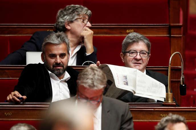 Les élus de La France insoumise Alexis Corbière et Jean-Luc Mélenchon le 13juin 2018 à l'Assemblée nationale.