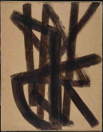 «Cette œuvre fait partie d'une production majeure dans la création de Pierre Soulages, fondée sur un matériau inédit dans le champ des beaux-arts. A partir de1947, l'artiste choisit le brou de noix pour la puissance de sa couleur et ses qualités artisanales, marquant sa rupture avec toute formation artistique classique et sa singularité esthétique dans les recherchespicturales de l'après-guerre. Cette œuvre seraprésentée dès 1948 dans lapremière grande exposition collective de peintres français abstraits qui s'ouvre en novembre au Württembergischer Kunstverein de Stuttgart, pour voyager ensuite à travers l'Allemagne.»