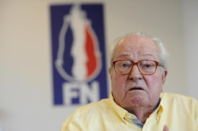 Cliché pris le 31 mai 2017 de Jean-Marie Le Pen, cofondateur du Front national (devenu Rassemblement national le 1er juin), qui a présidé ce parti pendant près de quarante ans.