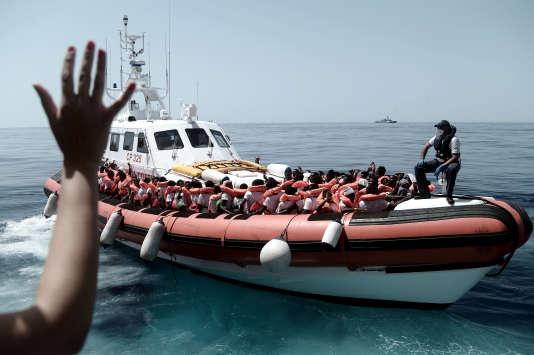 L'«Aquarius», en Méditerranée, le 13 juin.