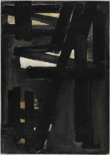 «Dans cette peintureau format plus confidentiel s'inscrit une structure noire très resserrée autour de zones de contrastes, comme ce triangle d'un blanc lumineux au centre de la composition. Soulages propose dans ses peintures de l'année 1953 une forme originale de clair-obscur en faisant émerger la lumière par des contrastes de plus en plus prononcés. »