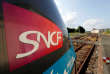 The logo of SNCF is pictured on a train at the French state-owned railway company SNCF station in Chantonnay, France, June 13, 2018. REUTERS/Regis Duvignau